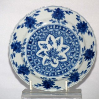 KANGXI BLUE AND WHITE PORCELAIN PLATE