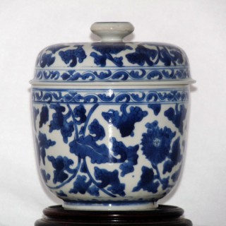 KANGXI BLUE AND WHITE PORCELAIN LIDDED JAR