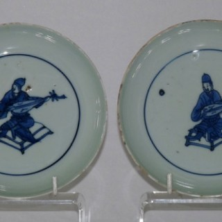 MING KO-SOMETSUKE PAIR OF PORCELAIN BLUE AND WHITE DISHES