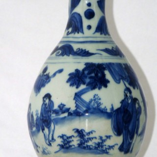 TRANSITIONAL - CHINESE 17TH CENTURY BLUE AND WHITE PORCELAIN