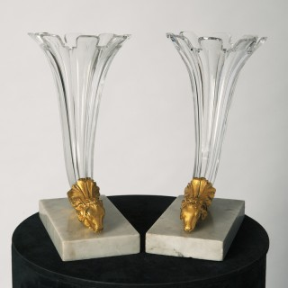 Regency glass cornucopias