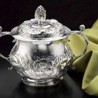 Early Charles II Silver Caudle Cup with Cover