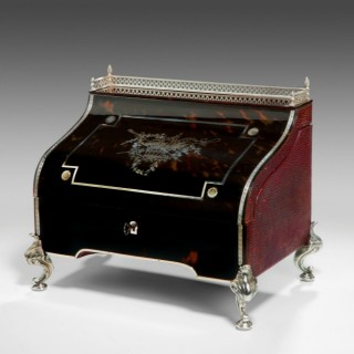 TORTOISESHELL AND SILVER DESK BY WILLIAM COMYNS