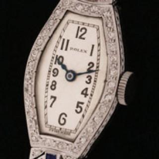 18CT WHITE GOLD DIAMOND & SAPPHIRE VINTAGE ROLEX WATCH 1927