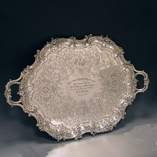 ANTIQUE SILVER TWO HANDLED TRAY