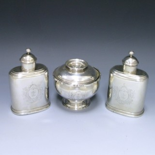 ANTIQUE COVERED BOWL AND TEA CADDIES