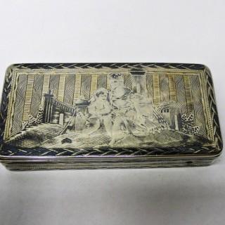 Antique Russian Silver and Niello Snuff Box