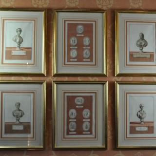 Set of six Classical sepia engravings of Roman Dignitary