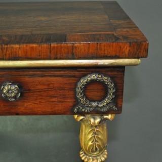 Fine Regency Rosewood and Gilt Console Table