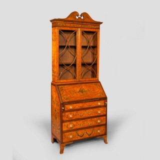 Edwardian bureau bookcase with handpainted decoration in Sheraton style