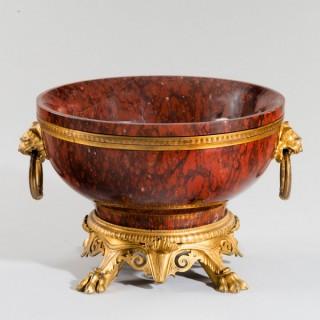 A very fine Napoleon III ormolu mounted rouge marble bowl.