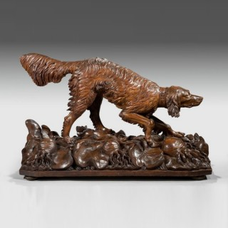 Life size Black Forest carved wood dog (setter)