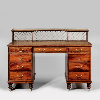 A fine quality Victorian desk in olive wood