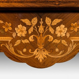 Rosewood and marquetry writing table