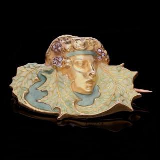 Art Nouveau Gold, Diamond & Enamel Brooch By Rene Lalique c.1900