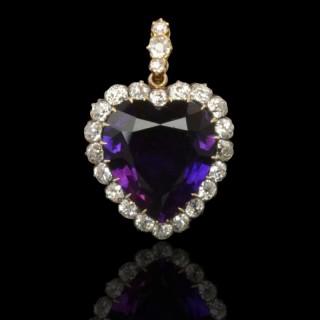 Victorian Amethyst & Diamond Heart Pendant circa 1890