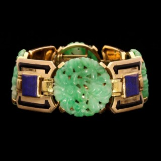 ART DECO GOLD, JADE, LAPIS LAZULI AND ENAMEL BRACELET BY SANDOZ, c.1928
