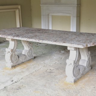 A 19th century French Broccatellone marble table