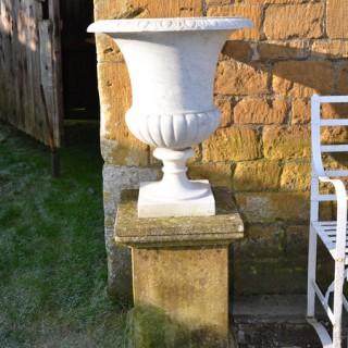 An Italian white marble campana urn