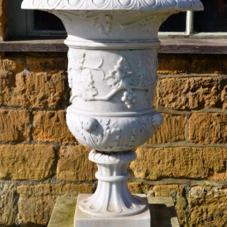 A fine pair of late 19th century Italian white marble urns