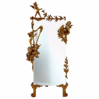 Late 19th Century Antique Carved Wood Cherub Cheval Mirror