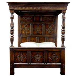 English Oak Carved Four Poster Bed