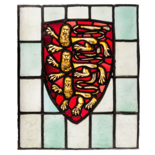 A late 19th century, stained and painted glass window