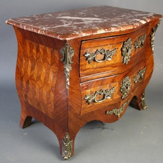 French Kingwood & tulipwood veneered miniture commode