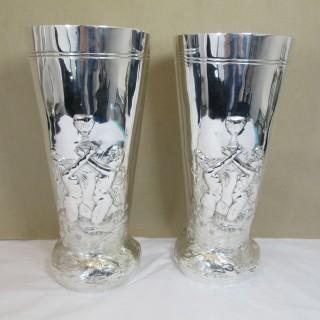 Pair of Edwardian Silver Vases