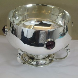 Silver Bowl With Amethysts