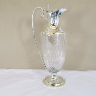 Victorian Silver and Glass Claret Jug with Bows