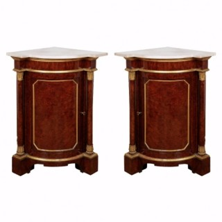 A pair of Royal yew-wood parcel-gilt corner cabinets from Windsor Castle