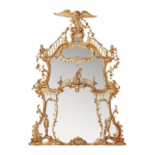A large William IV period giltwood overmantle mirror
