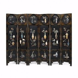 A large hardstone mounted lacquered folding six panel screen