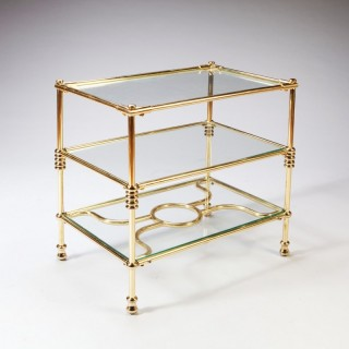 A THREE TIERED BRASS ART DECO ETAGERE