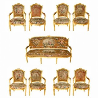 A nine piece Louis XVI style giltwood and tapestry suite