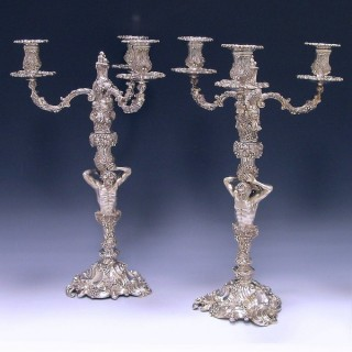 PAIR THREE-LIGHT CANDELABRA
