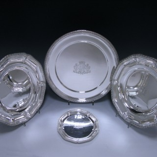 ANTIQUE SILVER MAGNIFICENT FRENCH SILVER SERVICE OF PLATES.