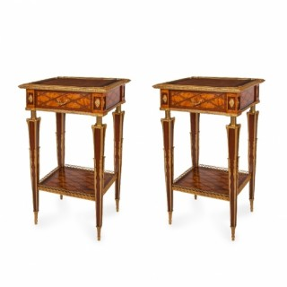 A pair of Victorian parquetry occasional tables by Donald Ross