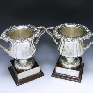 TWO GEORGE IV SILVER WINE COOLERS