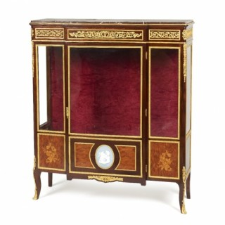 A Victorian period ormolu and Wedgewood porcelain mounted vitrine