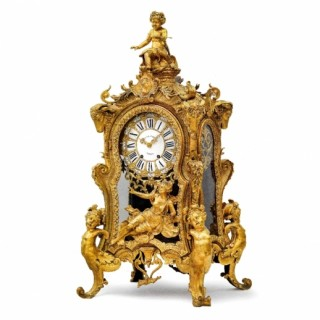 A monumental and unusual Napoleon III period ormolu mantel clock by Lepaute