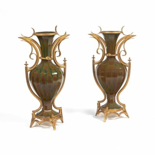 A large and rare pair of ormolu mounted Lithyalin glass vases