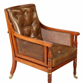 Antique Portable Regency Bergere Armchair