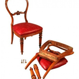 Antique Campaign Chairs in Bird's Eye Maple