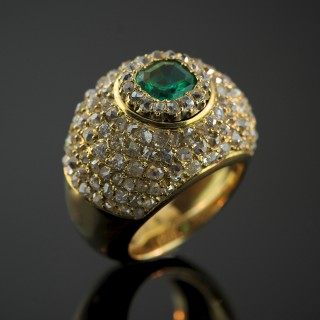 A French Emerald & Diamond Dress Ring by Maison Boivin