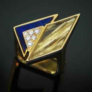 A French Yellow Gold, Lapis Lazuli, Quartz & Diamond Ring by Jean Vendome