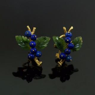 A Pair Of Yellow Gold & Lapis Lazuli Earrings