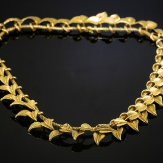 A French Yellow Gold Leaf Necklace
