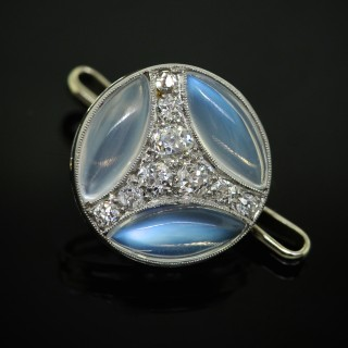 A French White Gold & Moonstone Cufflink & Stud Set, by Chaumet